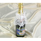 Sektflaschen-Dekoration weiß